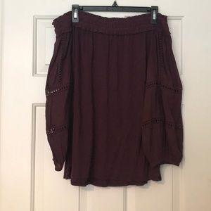 Purple/Maroon Off the Shoulder Top. Size M.